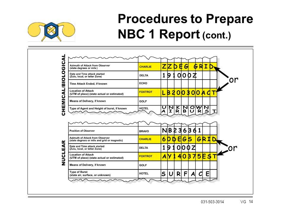 14 031-503-3014 VG Procedures to Prepare NBC 1 Report (cont.)