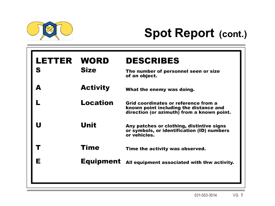 6 031-503-3014 VG Procedures to Prepare a Spot Report