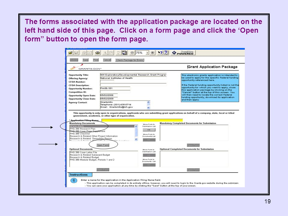 19 The forms associated with the application package are located on the left hand side of this page.