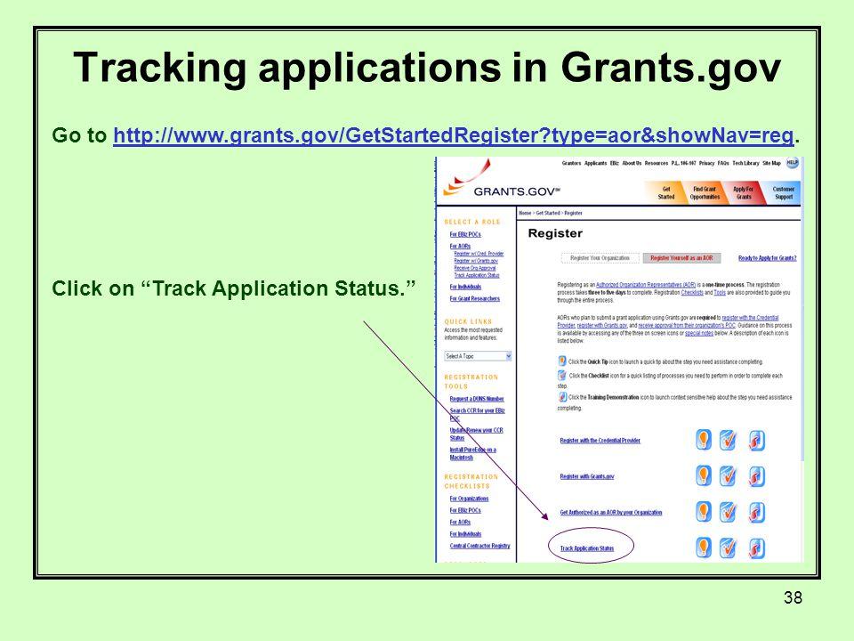 38 Tracking applications in Grants.gov Go to http://www.grants.gov/GetStartedRegister type=aor&showNav=reg.http://www.grants.gov/GetStartedRegister type=aor&showNav=reg Click on Track Application Status.