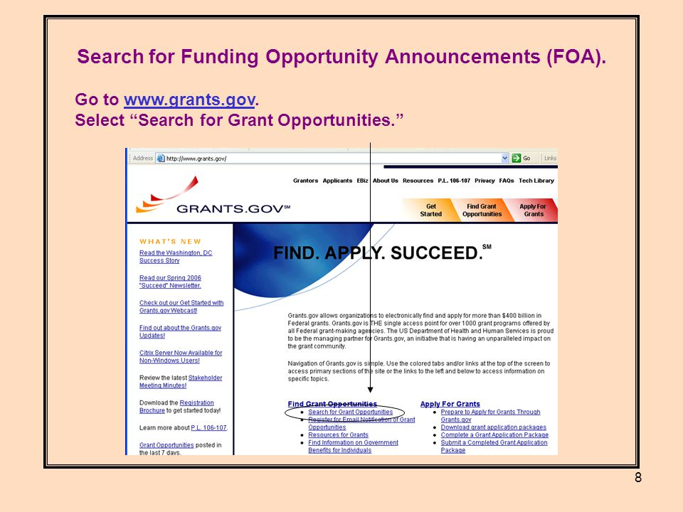 8 Search for Funding Opportunity Announcements (FOA).