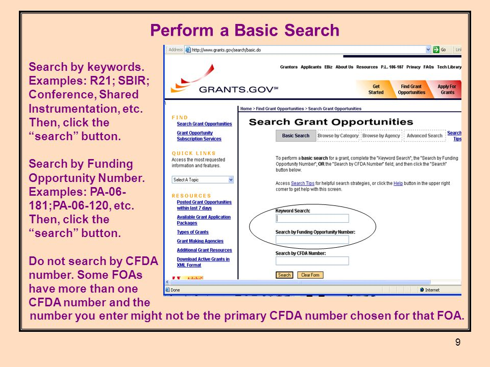 9 Perform a Basic Search Search by keywords.