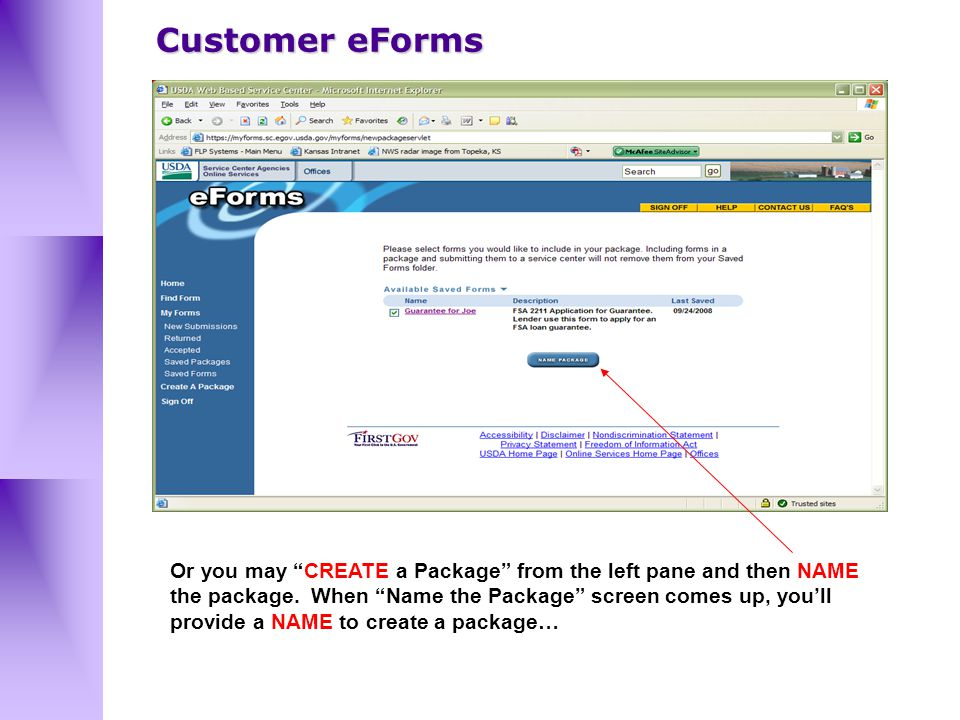 Or you may CREATE a Package from the left pane and then NAME the package.
