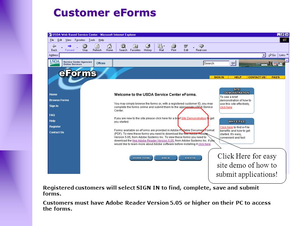 Registered customers will select SIGN IN to find, complete, save and submit forms.