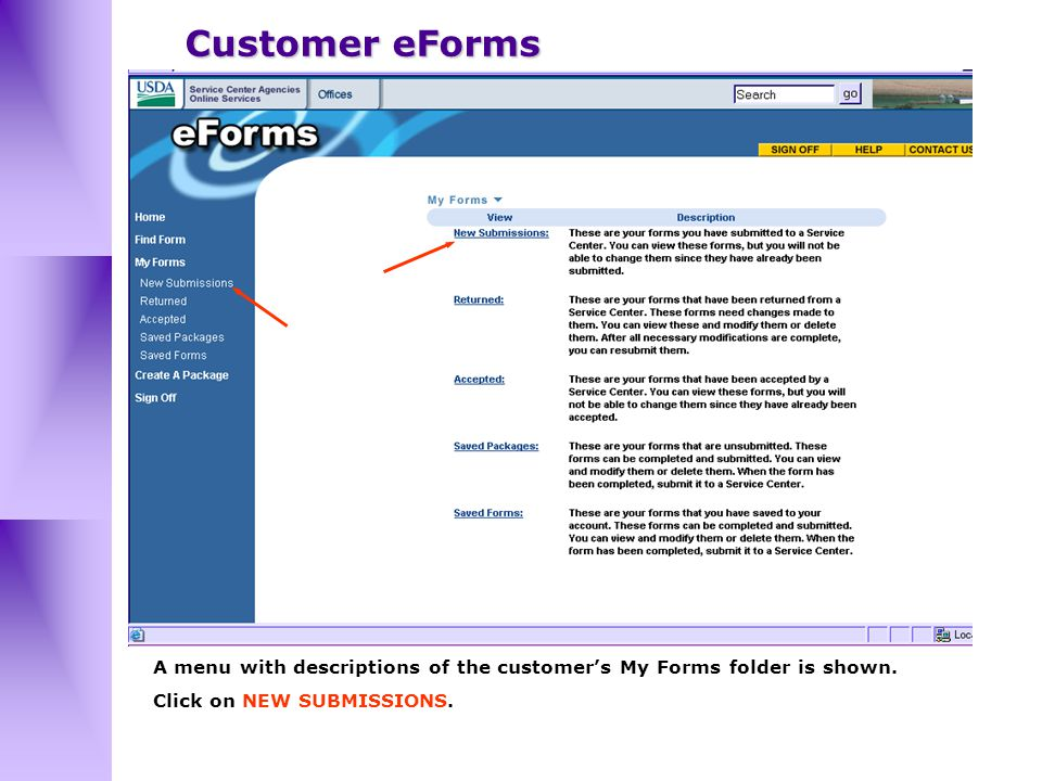 A menu with descriptions of the customer's My Forms folder is shown.