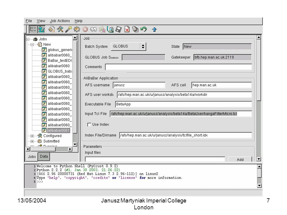 13/05/2004Janusz Martyniak Imperial College London 8 Current status and plans The system works and is currently being tested Available for user testing soon Future plans include creation of an 'index editor', which would allow job selection (at present all jobs in the index/data directory are submitted)