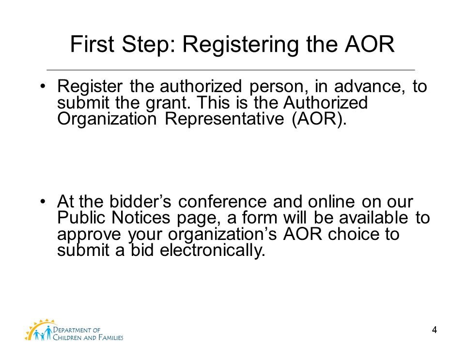 44 First Step: Registering the AOR Register the authorized person, in advance, to submit the grant. This is the Authorized Organization Representative