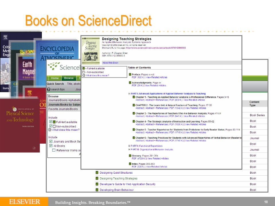 18 Books on ScienceDirect