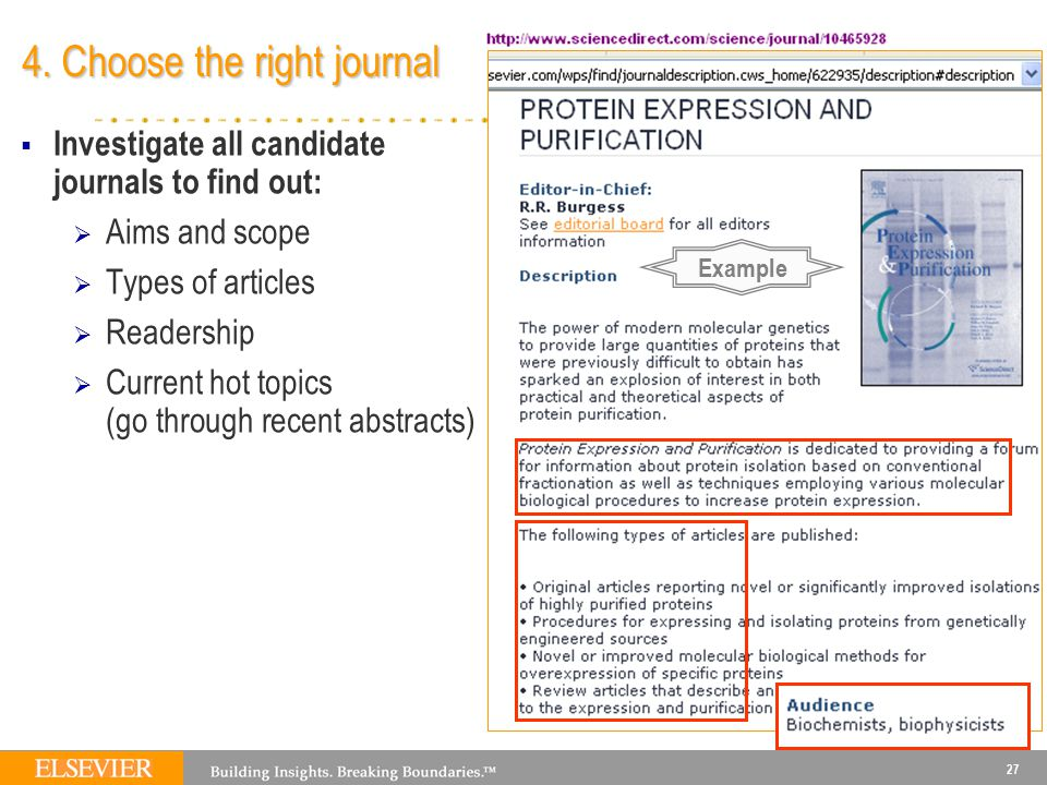 27 4. Choose the right journal  Investigate all candidate journals to find out:  Aims and scope  Types of articles  Readership  Current hot topic