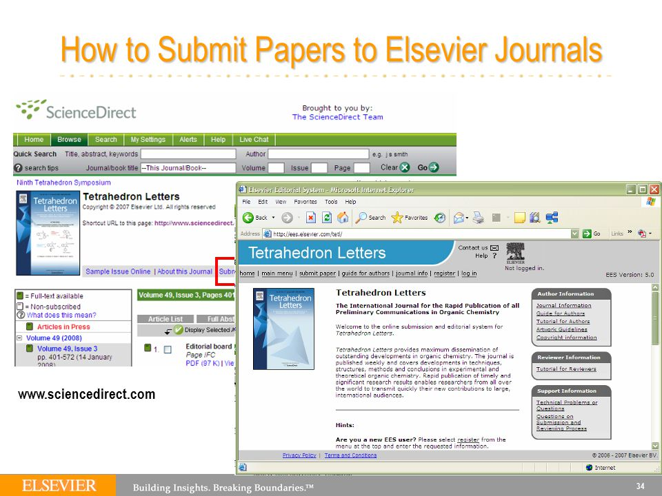 34 How to Submit Papers to Elsevier Journals www.sciencedirect.com