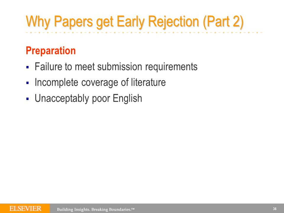 36 Why Papers get Early Rejection (Part 2) Preparation  Failure to meet submission requirements  Incomplete coverage of literature  Unacceptably poor English