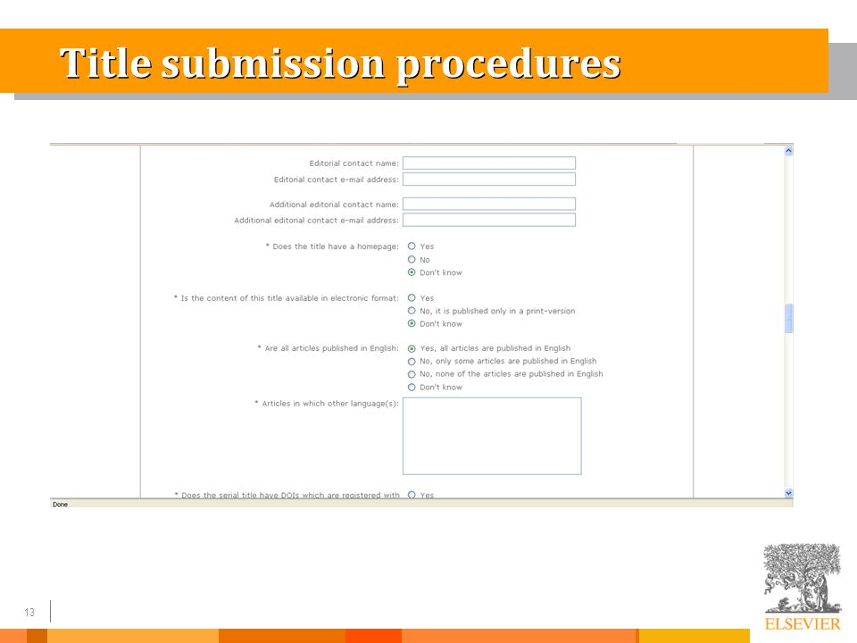 13 Title submission procedures