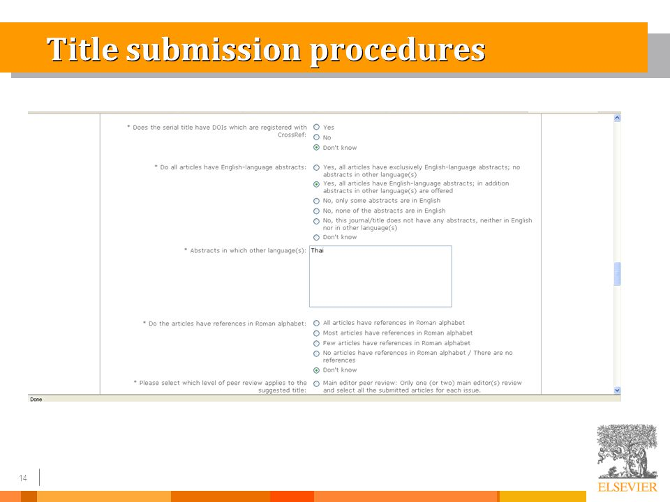 14 Title submission procedures
