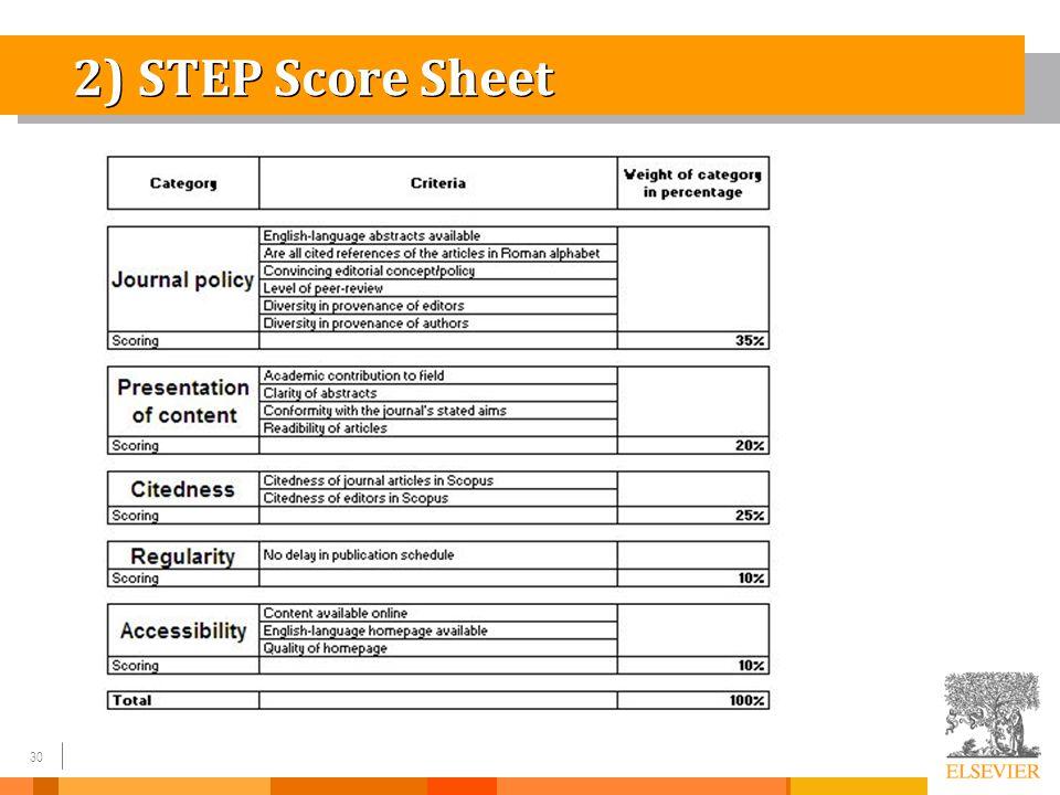 30 2) STEP Score Sheet