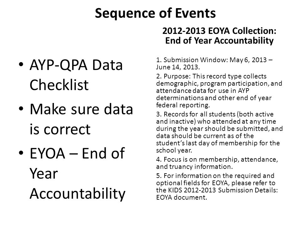 Sequence of Events AYP-QPA Data Checklist Make sure data is correct EYOA – End of Year Accountability 2012-2013 EOYA Collection: End of Year Accountab