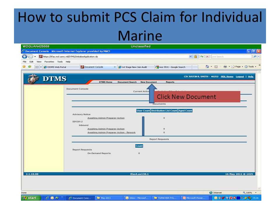 How to submit PCS Claim for Individual Marine Click New Document