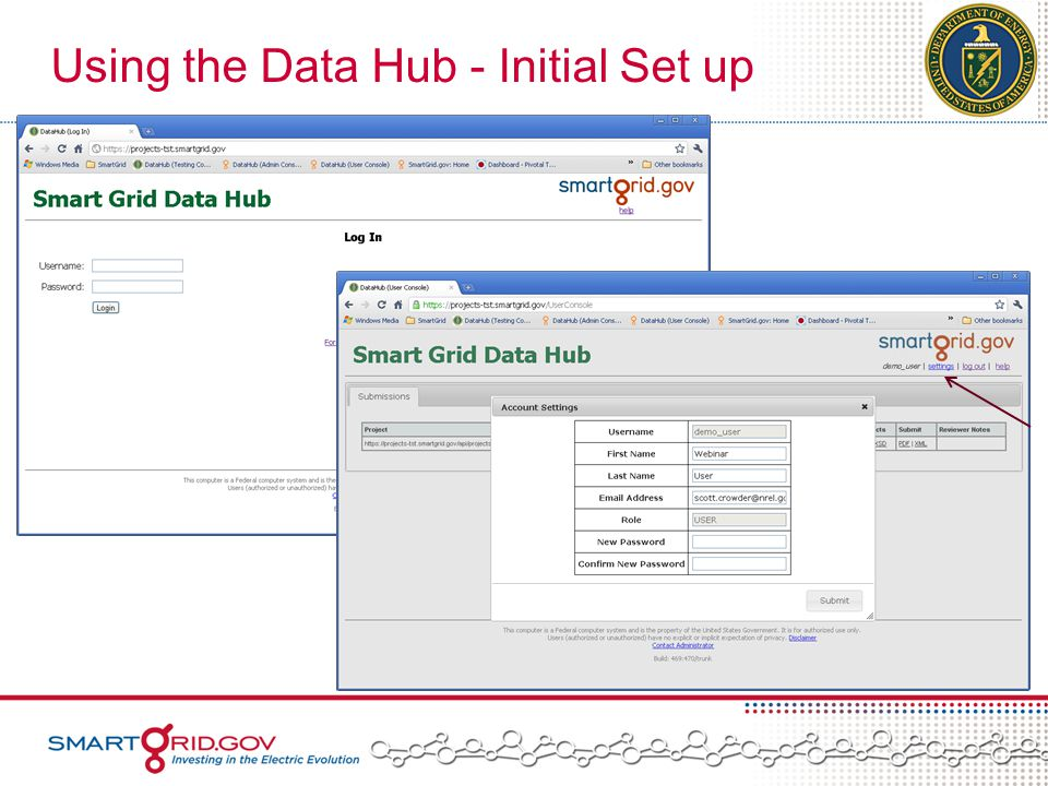 Using the Data Hub - Initial Set up