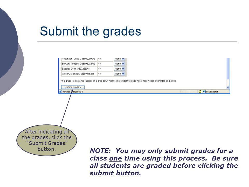 "Submit the grades After indicating all the grades, click the ""Submit Grades"" button. NOTE: You may only submit grades for a class one time using this"