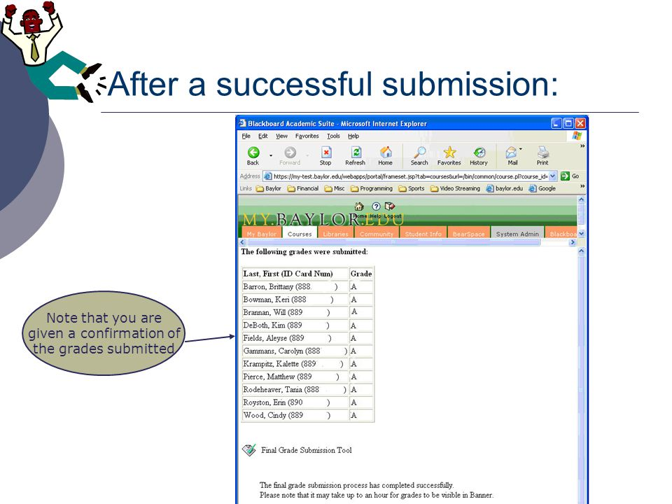 Message if grades had been previously submitted and already rolled to Banner: