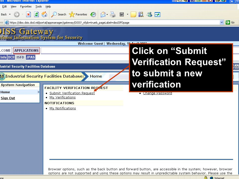 Click on Submit Verification Request to submit a new verification