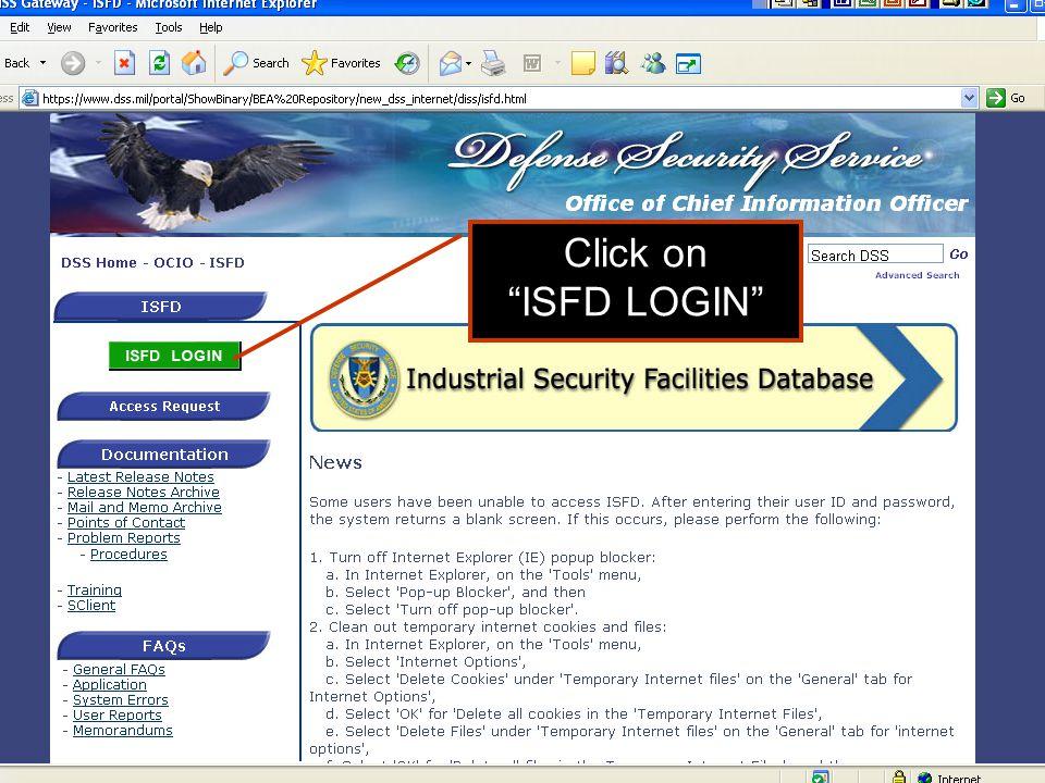 Click on ISFD LOGIN