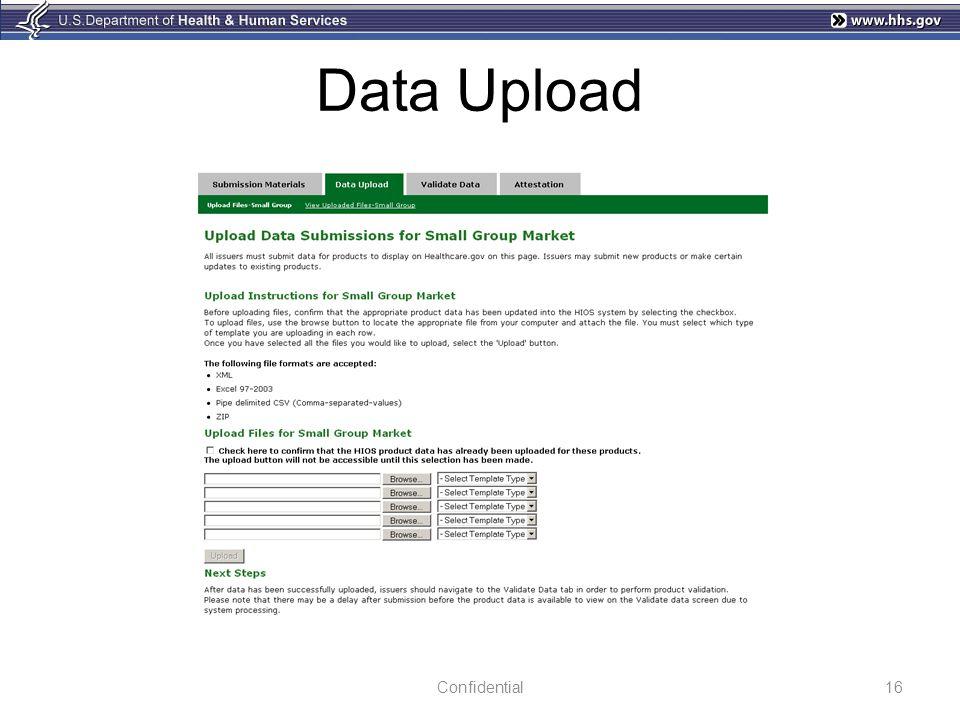 Data Upload 16Confidential