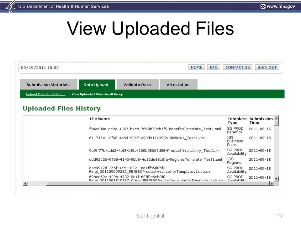 View Uploaded Files 17Confidential