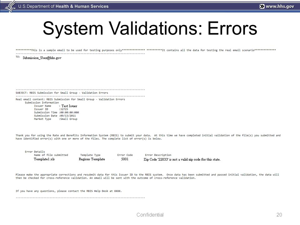 System Validations: Errors Confidential20