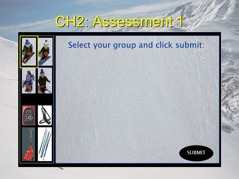 CH2: Assessment 1 Select your group and click submit: SUBMIT