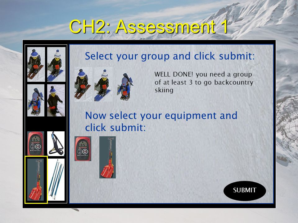CH2: Assessment 1 Select your group and click submit: SUBMIT WELL DONE.