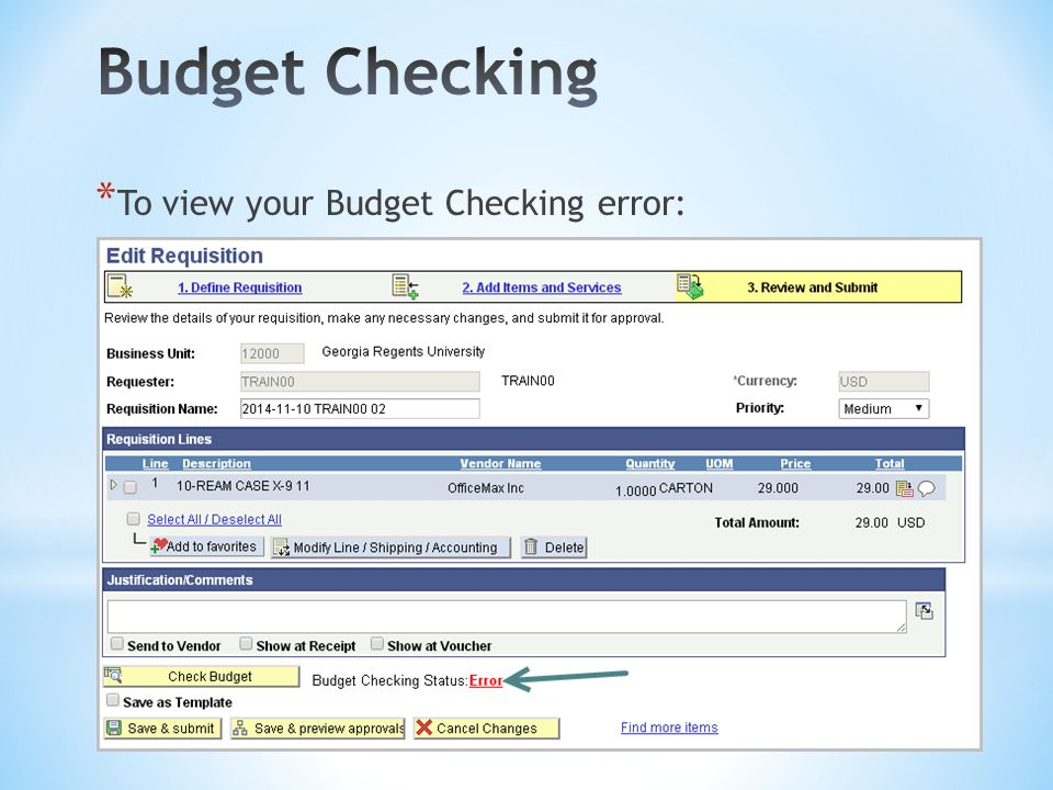 * To view your Budget Checking error: