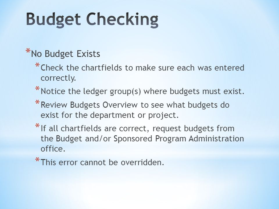 * No Budget Exists * Check the chartfields to make sure each was entered correctly.