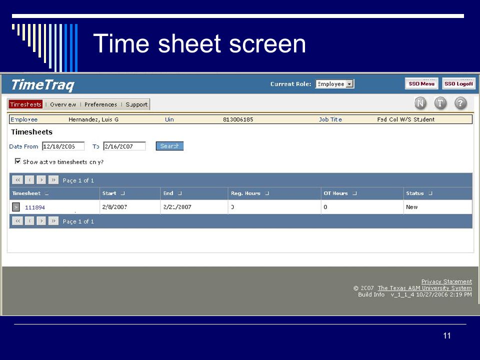 11 Time sheet screen