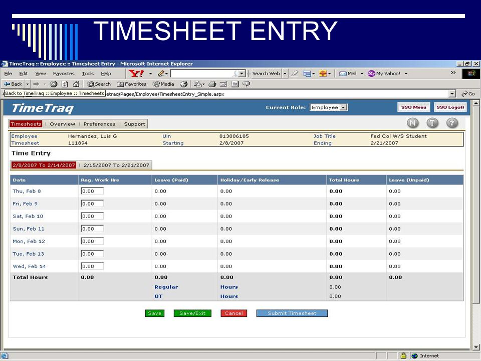 13 TIMESHEET ENTRY