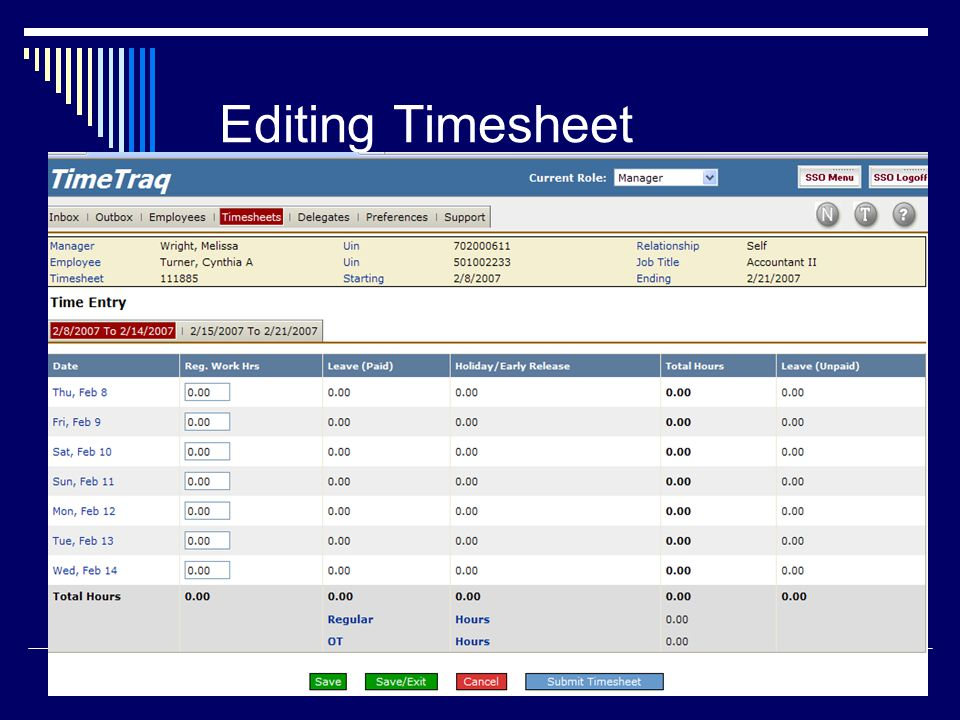28 Editing Timesheet
