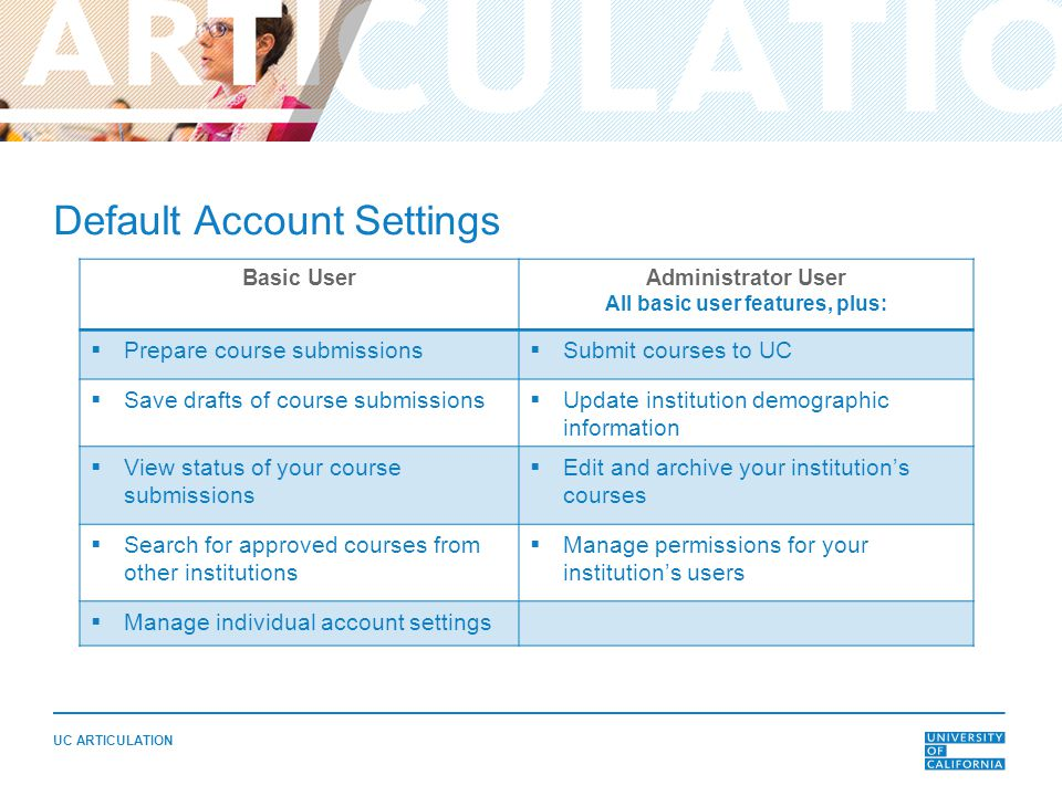 UC ARTICULATION Default Account Settings Basic UserAdministrator User All basic user features, plus:  Prepare course submissions  Submit courses to UC  Save drafts of course submissions  Update institution demographic information  View status of your course submissions  Edit and archive your institution's courses  Search for approved courses from other institutions  Manage permissions for your institution's users  Manage individual account settings