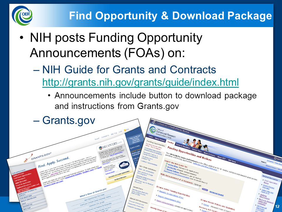 12 Find Opportunity & Download Package NIH posts Funding Opportunity Announcements (FOAs) on: –NIH Guide for Grants and Contracts http://grants.nih.go