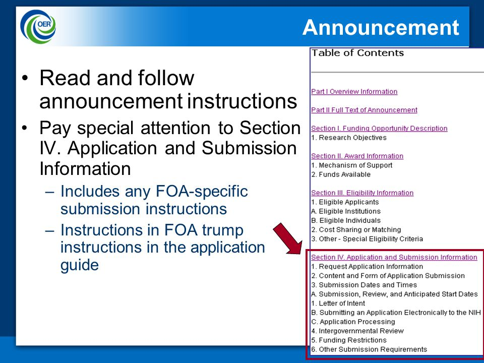 18 Announcement Read and follow announcement instructions Pay special attention to Section IV.