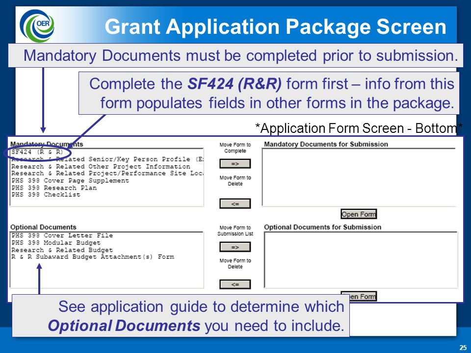 25 Grant Application Package Screen Mandatory Documents must be completed prior to submission. *Application Form Screen - Bottom* Complete the SF424 (