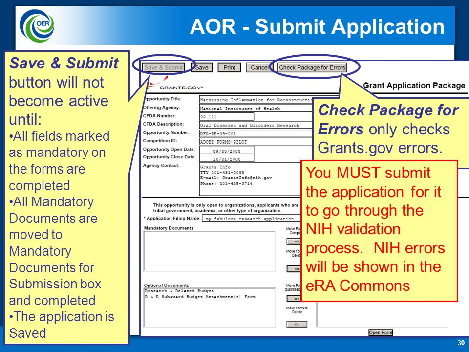 30 AOR - Submit Application Check Package for Errors only checks Grants.gov errors. Save & Submit button will not become active until: All fields mark
