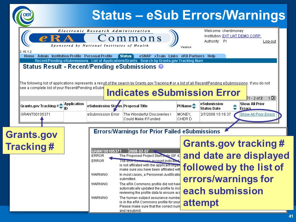 41 Status – eSub Errors/Warnings Indicates eSubmission Error Grants.gov Tracking # Grants.gov tracking # and date are displayed followed by the list of errors/warnings for each submission attempt