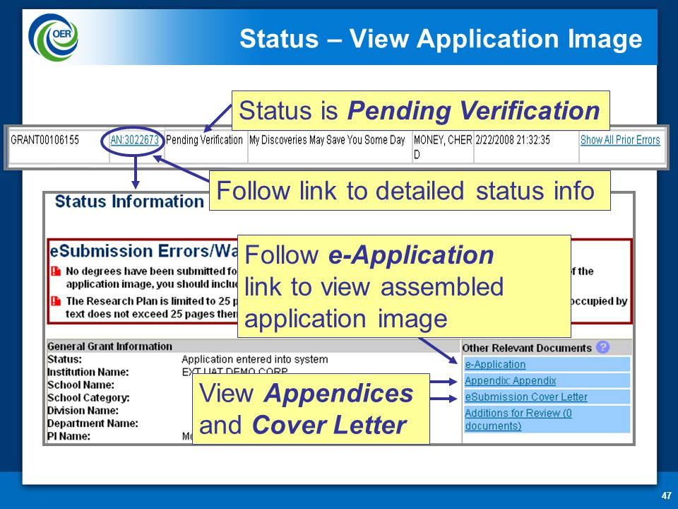 47 Status – View Application Image View Appendices and Cover Letter Status is Pending Verification Follow e-Application link to view assembled application image Follow link to detailed status info