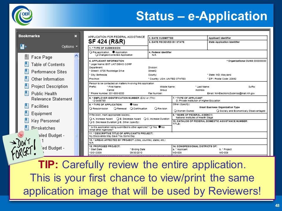 48 Status – e-Application TIP: Carefully review the entire application.