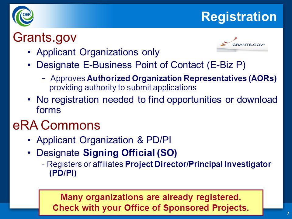 7 Registration Grants.gov Applicant Organizations only Designate E-Business Point of Contact (E-Biz P) - Approves Authorized Organization Representati