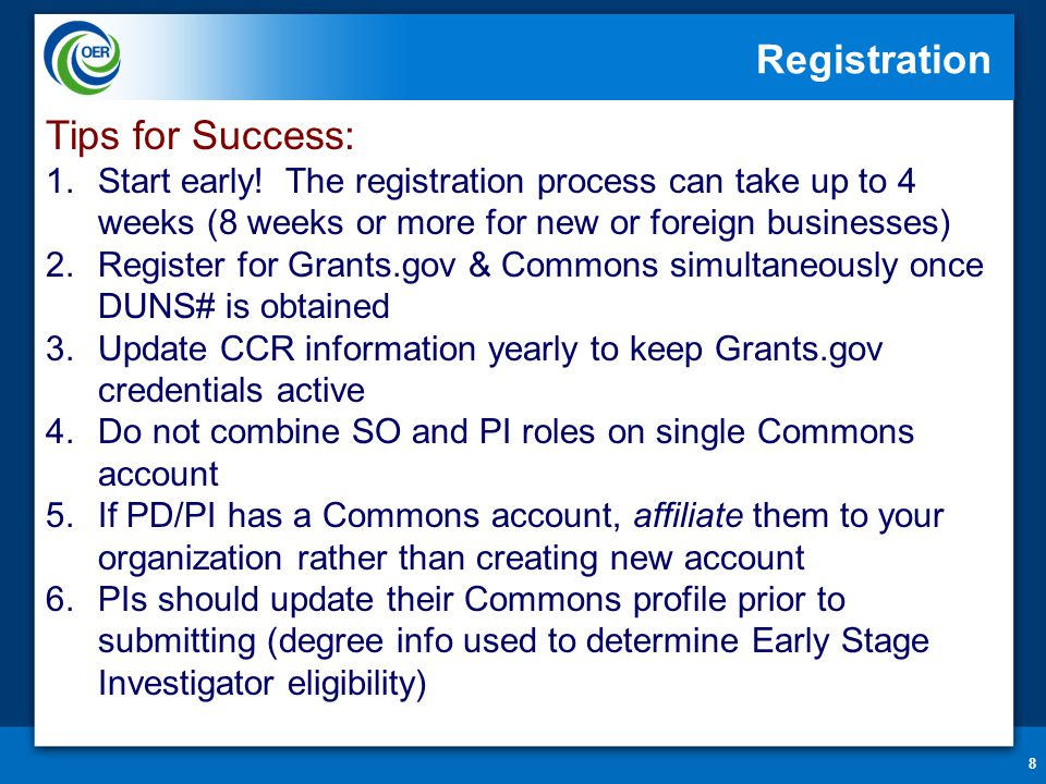 8 Registration Tips for Success: 1.Start early! The registration process can take up to 4 weeks (8 weeks or more for new or foreign businesses) 2.Regi