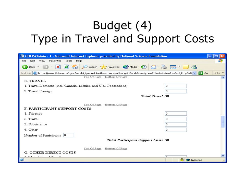 Budget (4) Type in Travel and Support Costs