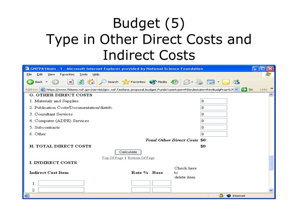 Budget (5) Type in Other Direct Costs and Indirect Costs