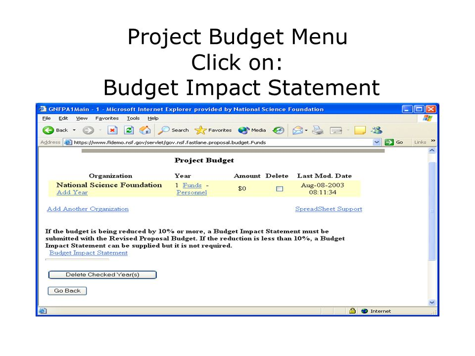Project Budget Menu Click on: Budget Impact Statement