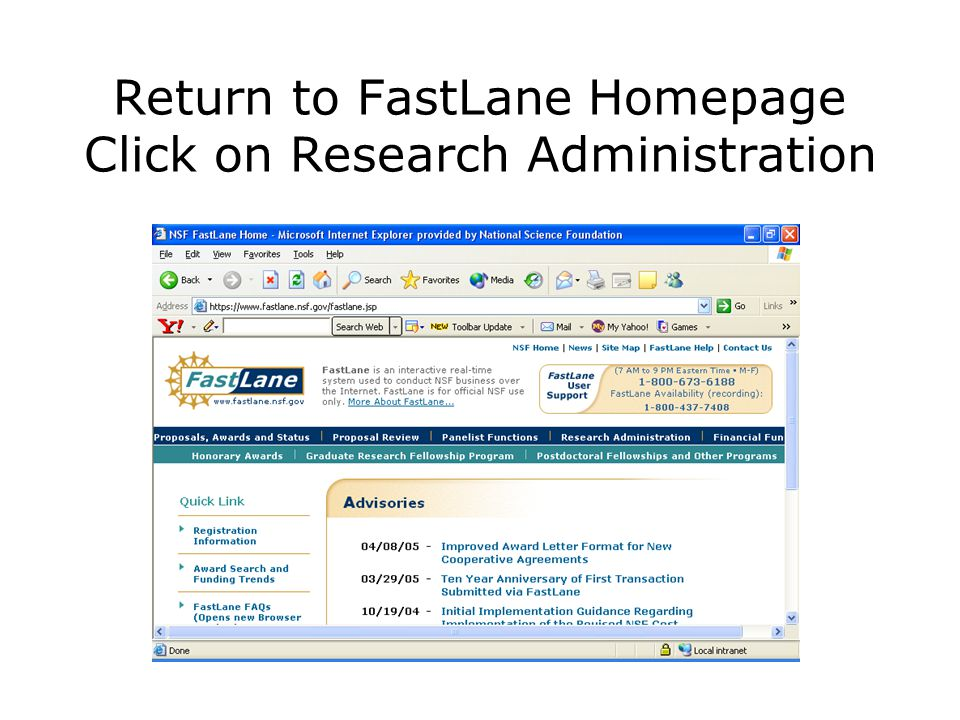 Return to FastLane Homepage Click on Research Administration