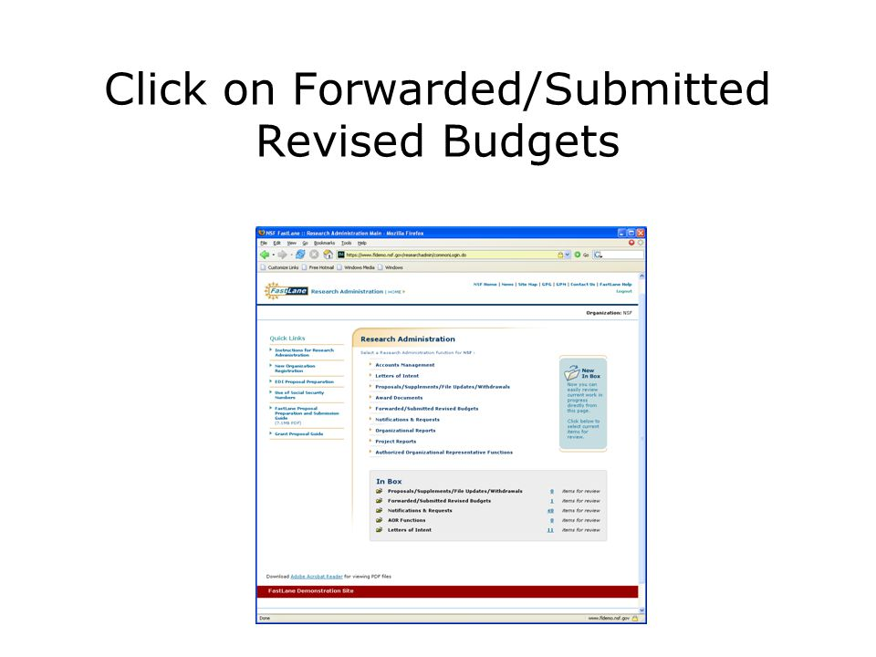 Click on Forwarded/Submitted Revised Budgets